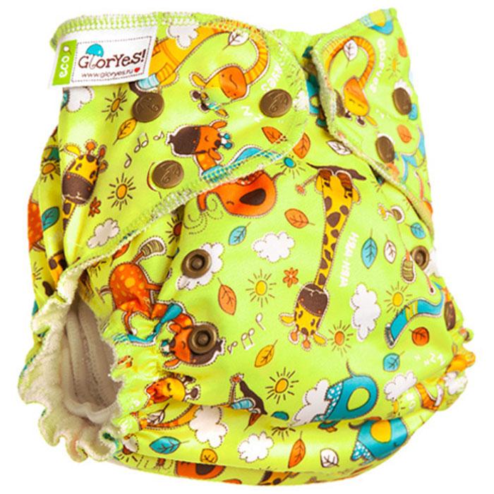 GlorYes! Многоразовый подгузник для приучения к горшку Жирафы 3-18 кг + два вкладыша, Подгузники и пеленки  - купить со скидкой