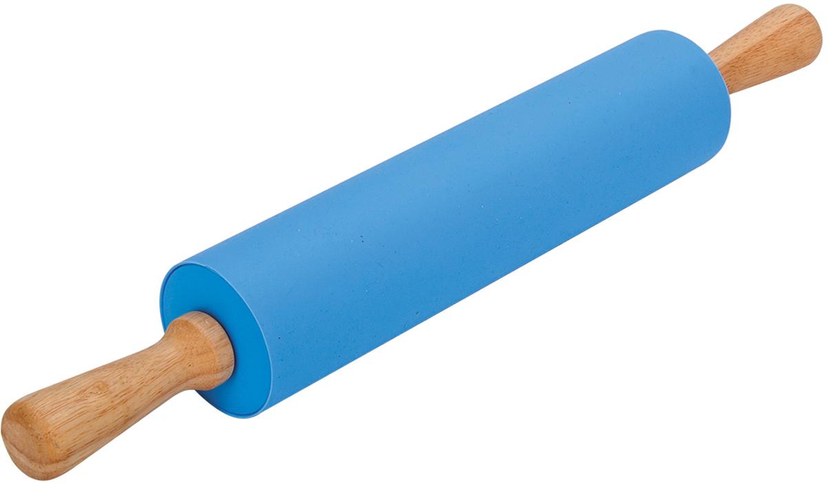 Скалка Regent Inox Silicone, цвет: голубой, 43 х 5 см93-si-cu-15.4Силиконовая посуда Regent Inox, практична, эстетична, долговечна, выдерживает колебания температур от -40 до +230 °С. С помощью скалки вы быстро сможете ровно раскатать любое тесто.