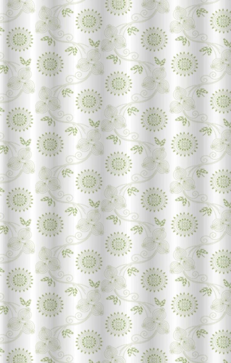 Штора для ванной Vanstore Gerbera Green, 180 х 180 см630-02Занавеска в пакете GERBERA GREEN • Материал полиэстер • Водонепроницаемая • Прошитые проушины для колец • утяжеляющей полоской, не позволяющей занавеске мяться • упаковка - ПВХ пакет с подвесом. • размер 180х180; • Плотность: 70gsm