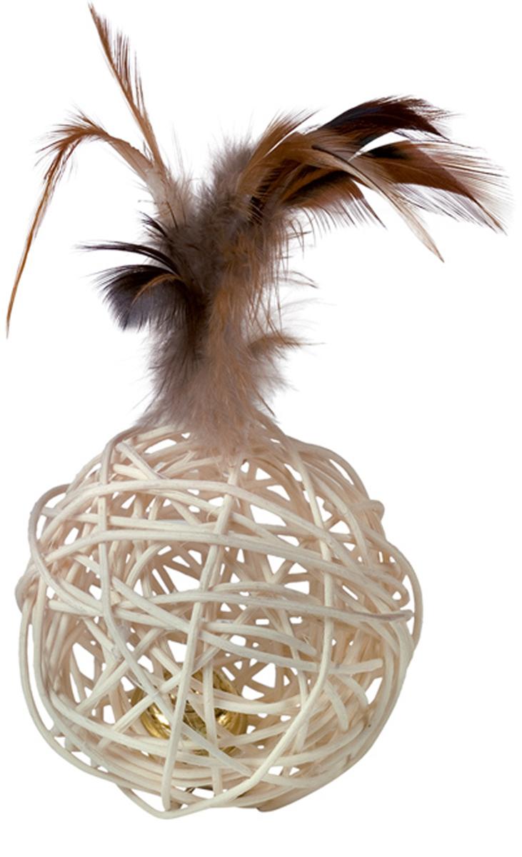 Игрушка для кошек Nobby Мяч, с перьями, 16 см игрушка для животных каскад удочка с пауком и перьями длина 58 5 см