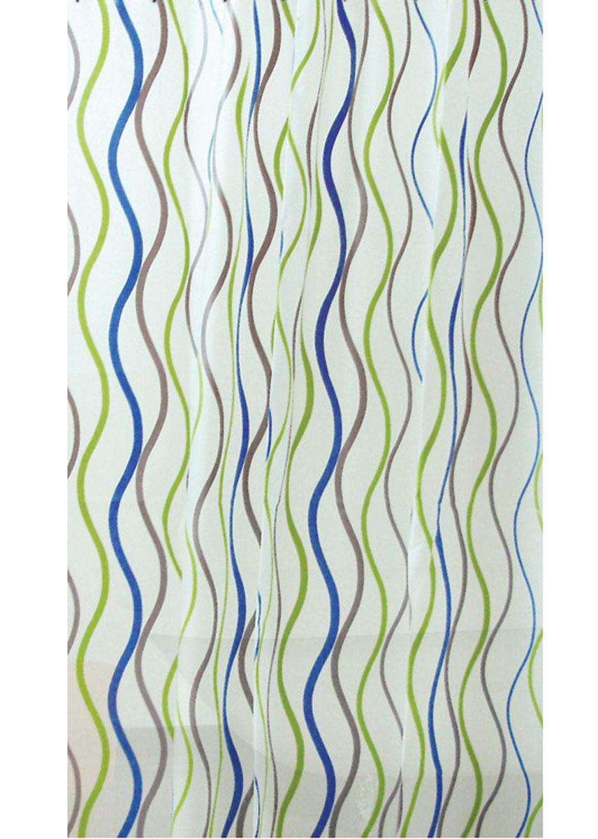 Штора для ванной Vanstore Волны, кольцами, 180 х 180 см620-24Штора Vanstore Волны, выполненная из ПЕВА и EVA (вспененный этиленвинилацетат),оформлена оригинальным рисунком. Она надежно защитит от брызг и капель пространствовашей ванной комнаты в то время, пока вы принимаете душ. В верхней кромке шторыпредусмотрены отверстия для пластиковых колец (входят в комплект). Оригинальный дизайн шторы наполнит вашу ванную комнату положительной энергией.