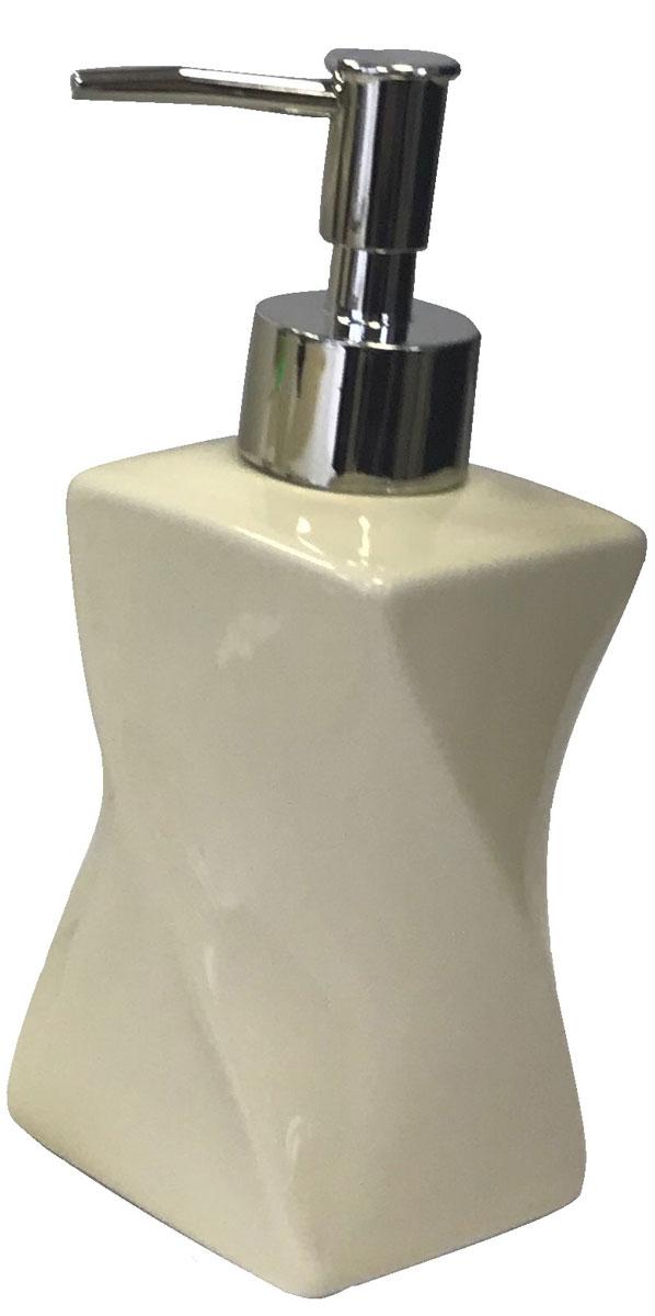 """Дозатор для жидкого мыла серии """"Crema"""", изготовленный из керамики с формой в виде песочных часов молочного цвета, отлично подойдет для вашей ванной комнаты.  Серия """"Crema"""", создаст особую атмосферу уюта и максимального комфорта в ванной."""