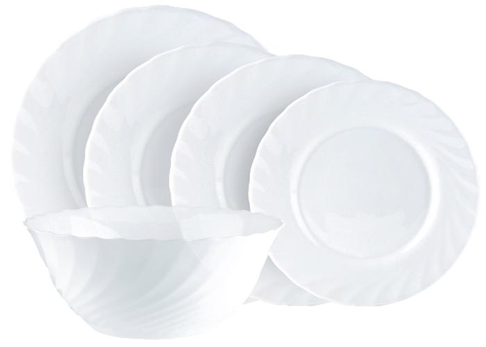 Столовый набор Luminarc Трианон, 20 предметов78869Столовый набор Luminarc Трианон состоит из 6 суповыхтарелок, 6 обеденных тарелок, 6 десертных тарелок, блюда и салатника. Изделия выполнены из ударопрочного стекла. Посуда отличается прочностью,гигиеничностью и долгимсроком службы, она устойчива к появлению царапин и резкимперепадам температур.Такой набор прекрасно подойдет как для повседневногоиспользования, так и для праздников или особенных случаев. Столовый набор Luminarc - это не только яркий иполезный подарок для родных и близких, это такжевеликолепное дизайнерское решение для вашей кухни илистоловой.Изделия можно мыть в посудомоечной машине ииспользовать в СВЧ-печи.Диаметр суповой тарелки: 21 см.Диаметр обеденной тарелки: 25 см.Диаметр десертной тарелки: 19 см. Диаметр большого салатника: 25 см.Диаметр блюда: 31 см.
