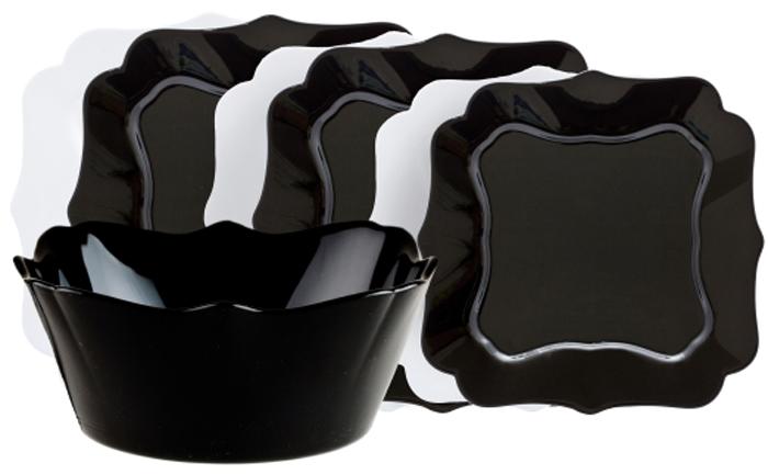 Столовый набор Luminarc Микс Отантик Блэк Уайт, 19 предметовE6195Столовый набор Luminarc Микс Отантик Блэк Уайт  состоит из 6 суповыхтарелок, 6 обеденных тарелок, 6 десертных тарелок исалатника. Изделия выполнены из ударопрочного стекла.Посуда отличается прочностью, гигиеничностью и долгимсроком службы, она устойчива к появлению царапин и резкимперепадам температур.Такой набор прекрасно подойдет как для повседневногоиспользования, так и для праздников или особенных случаев. Столовый набор Luminarc - это не только яркий иполезный подарок для родных и близких, это такжевеликолепное дизайнерское решение для вашей кухни илистоловой.Изделия можно мыть в посудомоечной машине ииспользовать в СВЧ-печи.Диаметр суповой тарелки: 20,5 см.Диаметр обеденной тарелки: 25,5 см.Диаметр десертной тарелки: 20,5 см. Диаметр салатника: 24 см.Высота стенки салатника: 8 см.