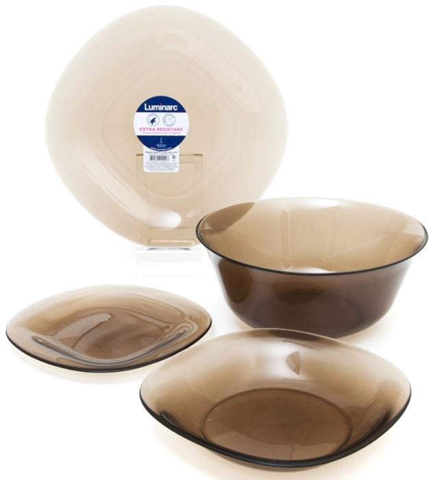 Столовый набор Luminarc Нью Карин Эклипс, 19 предметовL5111Столовый набор Luminarc Нью Карин Эклипс состоит из 6 суповыхтарелок, 6 обеденных тарелок, 6 десертных тарелок исалатника. Изделия выполнены из ударопрочного стекла.Посуда отличается прочностью, гигиеничностью и долгимсроком службы, она устойчива к появлению царапин и резкимперепадам температур.Такой набор прекрасно подойдет как для повседневногоиспользования, так и для праздников или особенных случаев. Столовый набор Luminarc - это не только яркий иполезный подарок для родных и близких, это такжевеликолепное дизайнерское решение для вашей кухни илистоловой.Изделия можно мыть в посудомоечной машине ииспользовать в СВЧ-печи.Диаметр суповой тарелки: 21,5 см.Диаметр обеденной тарелки: 26,5 см.Диаметр десертной тарелки: 19,5 см. Диаметр салатника: 27 см.Высота стенки салатника: 8 см.