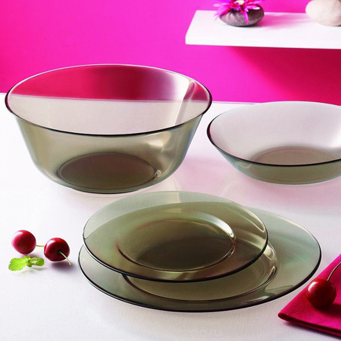 Столовый набор Luminarc Амбьянте Эклипс, 19 предметовL5176Столовый набор Luminarc Амбьянте Эклипс, 19 предметов. Состав набора: тарелка обеденная 24,5 см - 6 шт; тарелка десертная 19,5 см - 6 шт; тарелка суповая 20,5 см - 6 шт; салатник 24 см - 1 шт.
