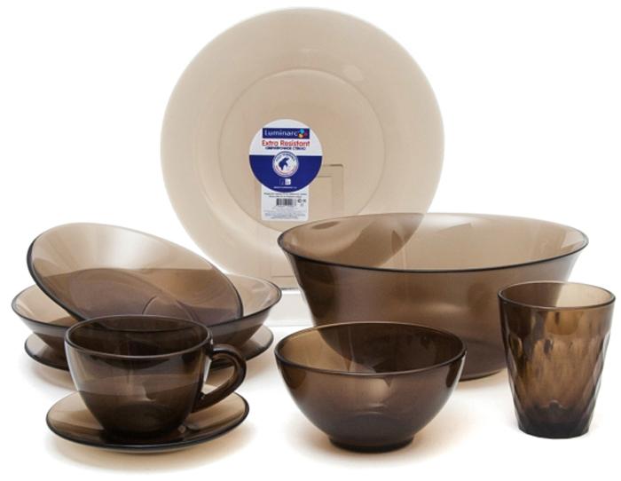 Столовый набор Luminarc Амбьянте Эклипс, 45 предметовL5181Столовый набор Luminarc Амбьянте Эклипс выполнен из стекла и состоит из 45 предметов. Состав набора: блюдо овальное - 2 шт;обеденная тарелка, диаметром 25 см - 6 шт;суповая тарелка, диаметром 21 см - 6 шт;десертная тарелка 19,6 см - 6 шт;салатник средний, диаметром 24 см - 1 шт;салатник малый, диаметром 12 см - 6 шт;кружка 220 мл - 6 шт;блюдце - 6 шт;стакан, объемом 200 мл - 6 шт.