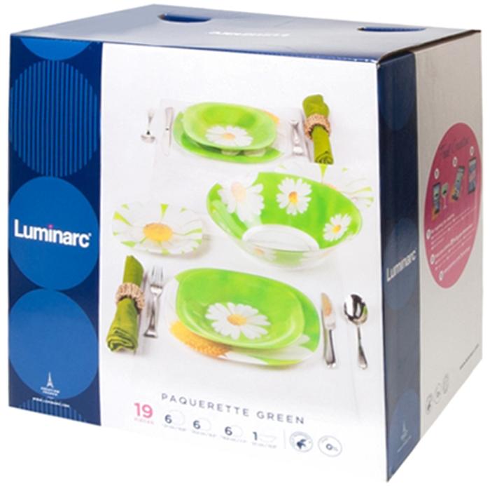 Столовый набор Luminarc Ромашка, 19 предметовN4218Столовый набор Luminarc Ромашка, 19 предметов. Состав набора: десертная тарелка 20 см - 6 шт; обеденная тарелка 28 см - 6 шт; суповая тарелка 22 см - 6 шт; салатник большой 27 см - 1 шт