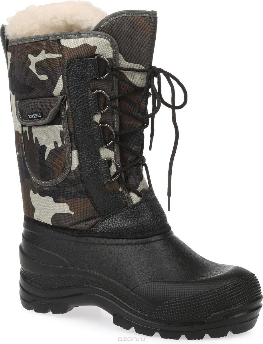 Сапоги зимние EVA Shoes Аляска (-40), цвет: черный, зеленый камуфляж. Размер 4259114Зимние сапоги EVA Shoes Аляска (-40) - это легкая, теплая и удобная обувь для зимней рыбалки и охоты. Галоша выполнена из ЭВА. Голенище изготовлено из прочного оксфорда. Внутри расположен съемный чулок из натурального меха с фольгой и спанбондом. На каждом из сапогов расположен небольшой кармашек на липучке. Шнурки помогают плотно прижимать сапог к ноге.