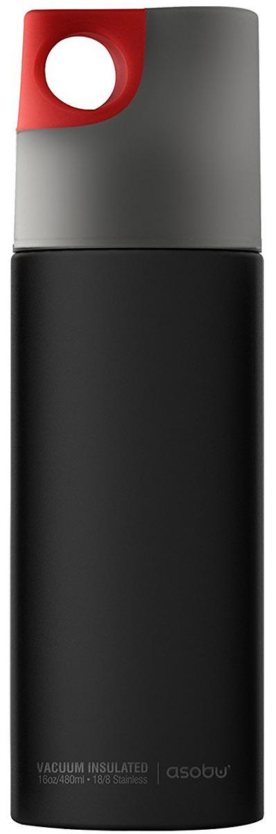 Термобутылка Asobu Le Canal, цвет: черный, серый, красный, 0,48 л бутылка 0 4 л asobu ice t 2 go фиолетовая it2go violet
