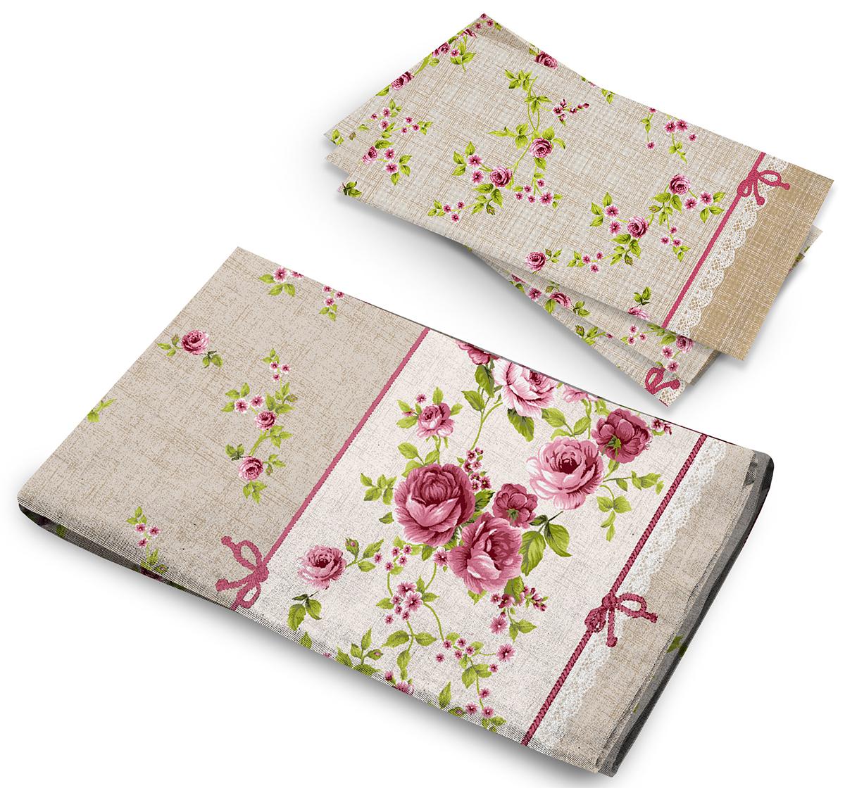 Набор Романтика Английский сад, скатерть рогожка 145 х 180, полотенце вафельное 50 х 71339475