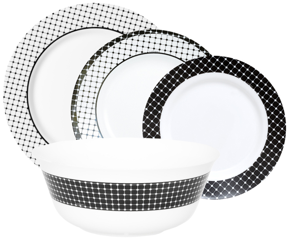 Столовый набор Luminarc Тьяго, 19 предметовJ7857Столовый набор Luminarc Тьяго, 19 предметов. Состав набора: тарелка десертная 19 см - 6 шт; тарелка обеденная 26 см - 6 шт; тарелка суповая 22 см - 6 шт; салатник 24 см - 1 шт;