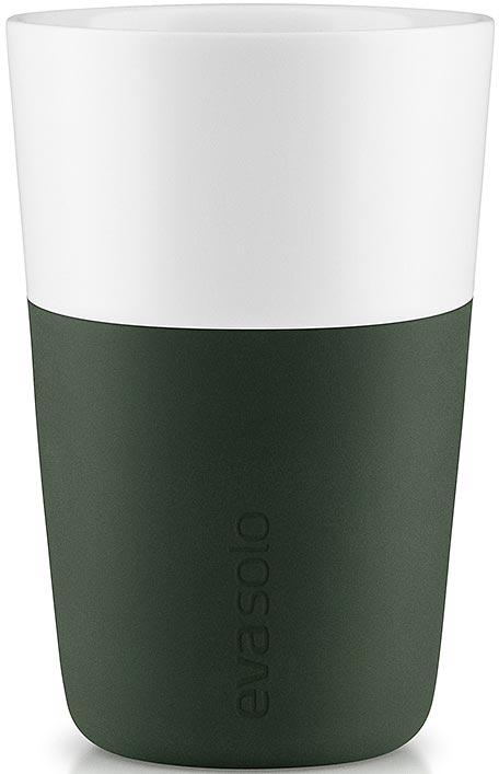 Чашка кофейная Eva Solo, цвет: темно-зеленый, 360 мл, 2 шт501057Набор из двух чашек для латте Eva Solo рассчитан на 360 мл - оптимальный объем для латте, (учитывая шапку молочной пены), а также стандартный объем для этого типа напитка у большинства кофе-машин.Чашки из белоснежного фарфора и с цветным силиконовым чехлом, который оберегает руки от соприкосновения с горячей поверхностью. Чехол легко снимается, после чего чашку можно мыть в посудомоечной машине.В комплекте 2 чашки.