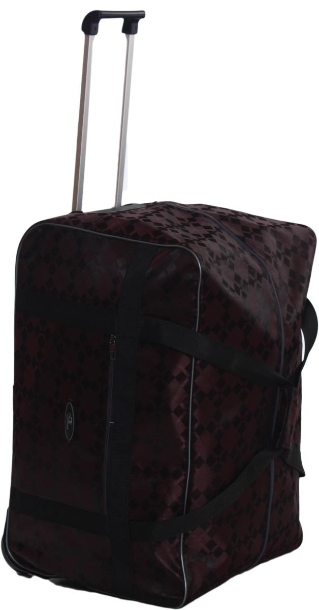 Сумка дорожная Ibag Коричневые квадраты, на колесах, цвет: коричневый, 94 л