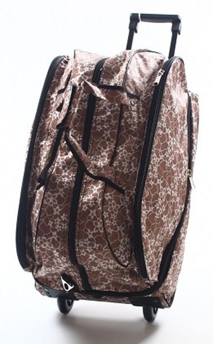Сумка дорожная Ibag Кружевные цветы, на колесах, цвет: бежевый, 66-76 л