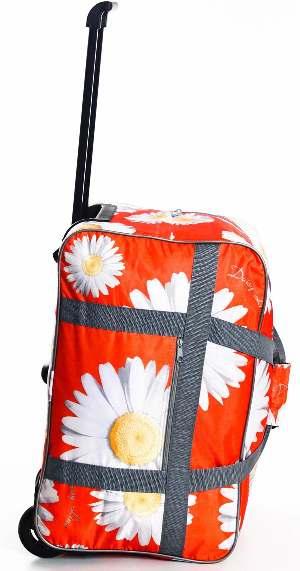 Сумка дорожная Ibag Оранжевые ромашки, на колесах, цвет: оранжевый, 51 л