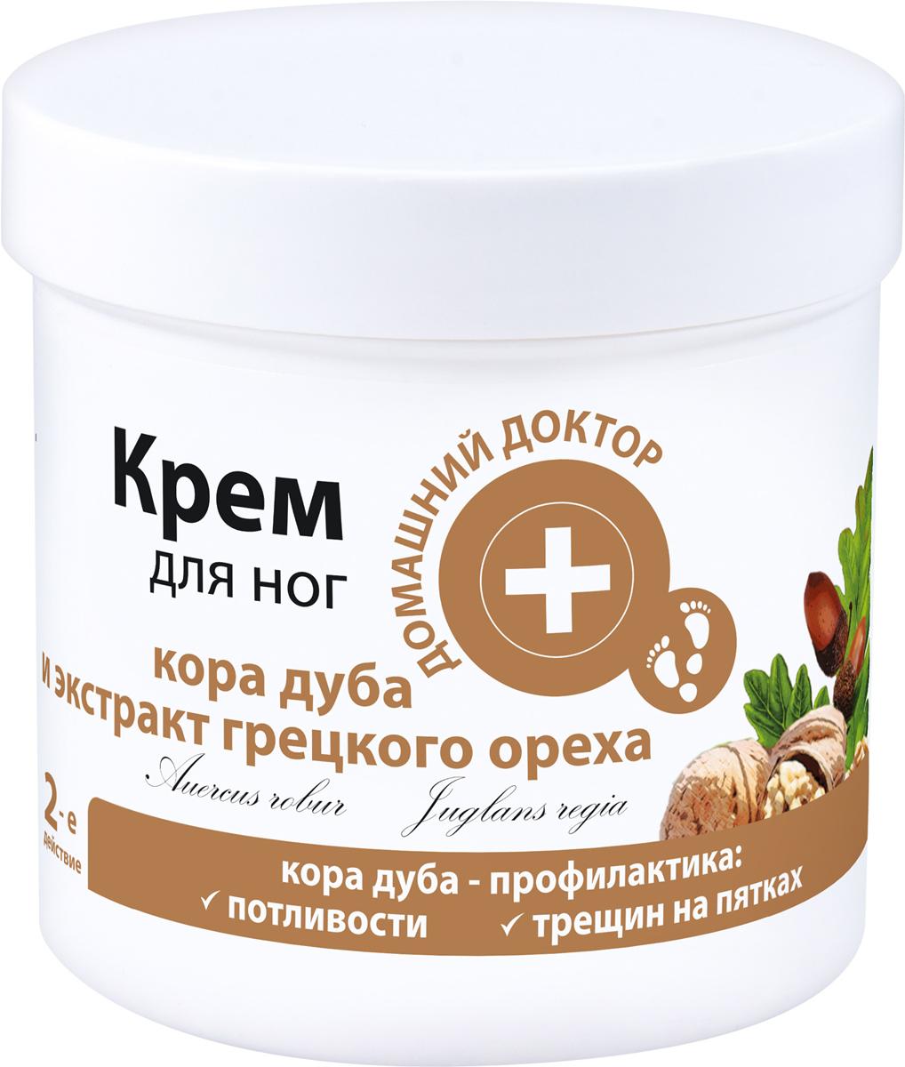 Домашний Доктор Крем для ног Кора дуба и экстракт грецких орехов, профилактика трещин на пятках, 250 мл