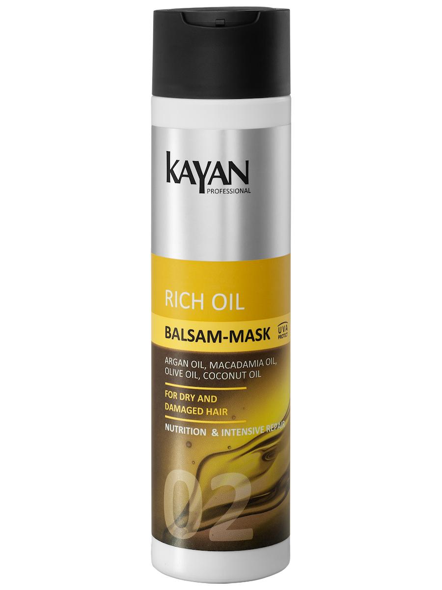 KAYAN Professional Бальзам-маска RICH OIL, для сухих и поврежденных волос, 250 мл5906660407041идеальный уход за поврежденными волосами. Бальзам обеспечивает легкое расчесывание и укладку. Придает волосам идеальную гладкость. Обеспечивает защиту от посеченности и ломкости. Активные компоненты интенсивно укрепляют и разглаживают кутикулу, восстанавливают прочность волосяного стержня. Мягкая шелковистость и ровный блеск волос.Активные компоненты: масло арганы, масло макадамии, масло кокоса, масло оливы, креатин обеспечивает защиту от посеченности и ломкостипридает волосам идеальную гладкостьвосстанавливает прочность волосяного стержняделает волосы шелковистыми и блестящими