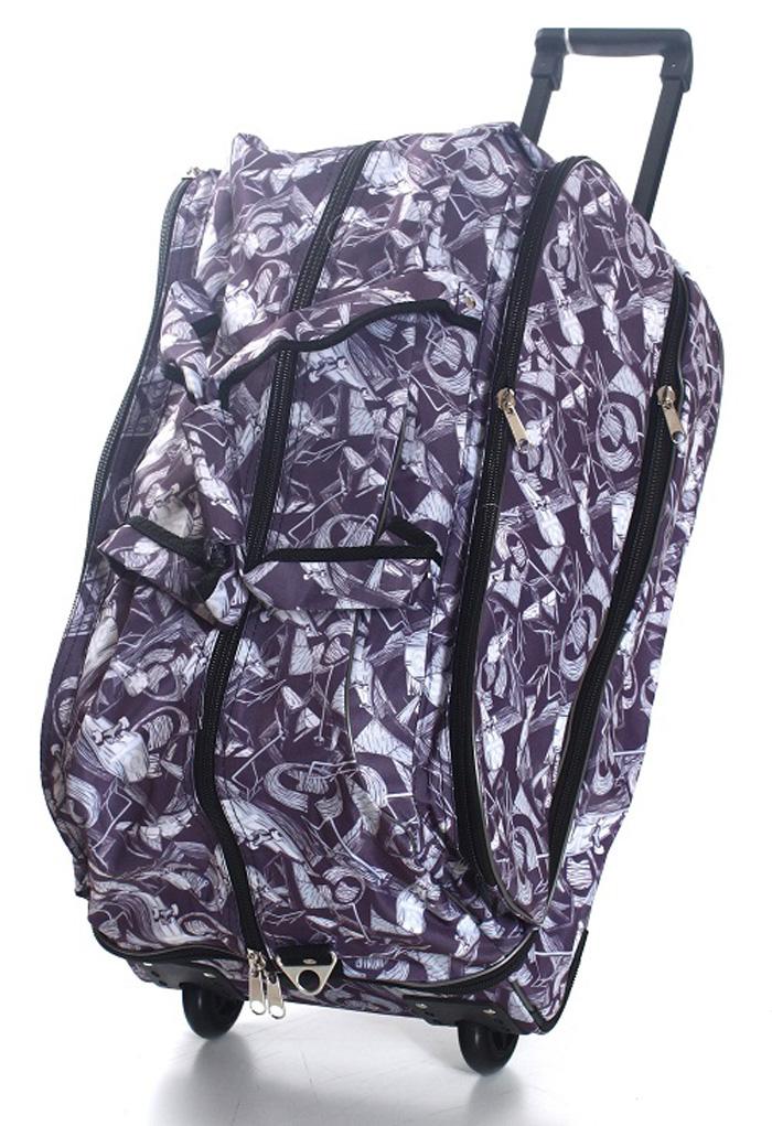 Сумка дорожная Ibag Скейты, на колесах, цвет: серый, 78-94 л
