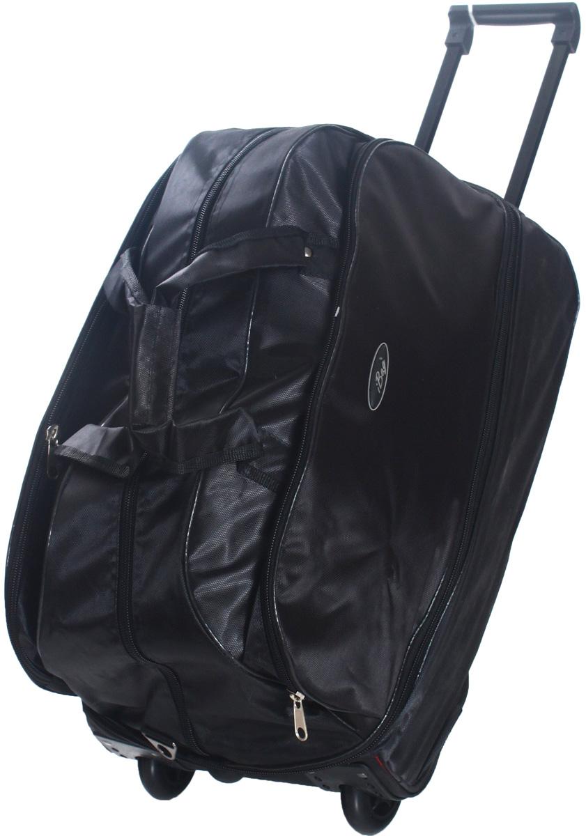 Сумка дорожная Ibag Черная Yildiz, на колесах, цвет: черный, 79-92 л2221 Черная YildizДорожная сумка на колесах Ibag Черная Yildiz удобна тем, что в поездку можно взять больше вещей, не испытываяизлишних неудобств притранспортировке. Благодаря колесам нагрузка при передвижении уменьшается и путешествия проходят намного легче. Просто выдвиньте ручку ивозите сумку у себя за спиной, вместо того чтобы нести ее в руке или на плече. Сумка имеет вместительное отделение на молнии и карман длямелочей сбоку. Для удобства транспортировки сумка оснащена выдвижной ручкой. Она надежнофиксируется и превращает сумку в некое подобие тележки. Сумка на колесах с выдвижной ручкой занимает совсем немного места и крайнеудобна в хранении. Данная сумка выполнена из легкой, очень прочной ткани которая великолепно сохраняет форму, устойчива к световому итепловому воздействию и проста в уходе. Легкая и удобная, послужит незаменимымспутником как в деловой поездке так и в дальнем путешествии.