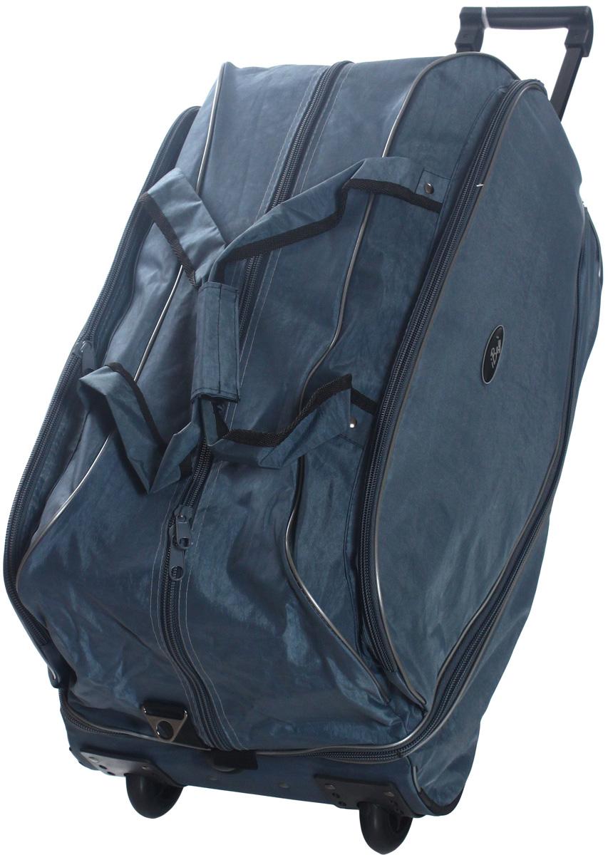 Сумка дорожная Ibag Серая жатка, на колесах, цвет: серый, 79-92 л