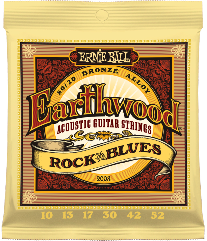 Ernie Ball 2008 струны для акустической гитары (10-13-17-30-42-52)P02008Комплект струн для акустической гитары Earthwood 80/20 Rock & Blues Калибр струн: 10-13-17-30-42-52Струны серии Earthwood 80/20 Bronze представляют собой стальную лужёную шестигранную сердцевину с обмоткой из бронзового сплава (80% медь, 20% цинк). Это наиболее популярные струны для акустических гитар, во многом благодаря своему насыщенному и четкому звучанию с глубокими и приятными обертонами.