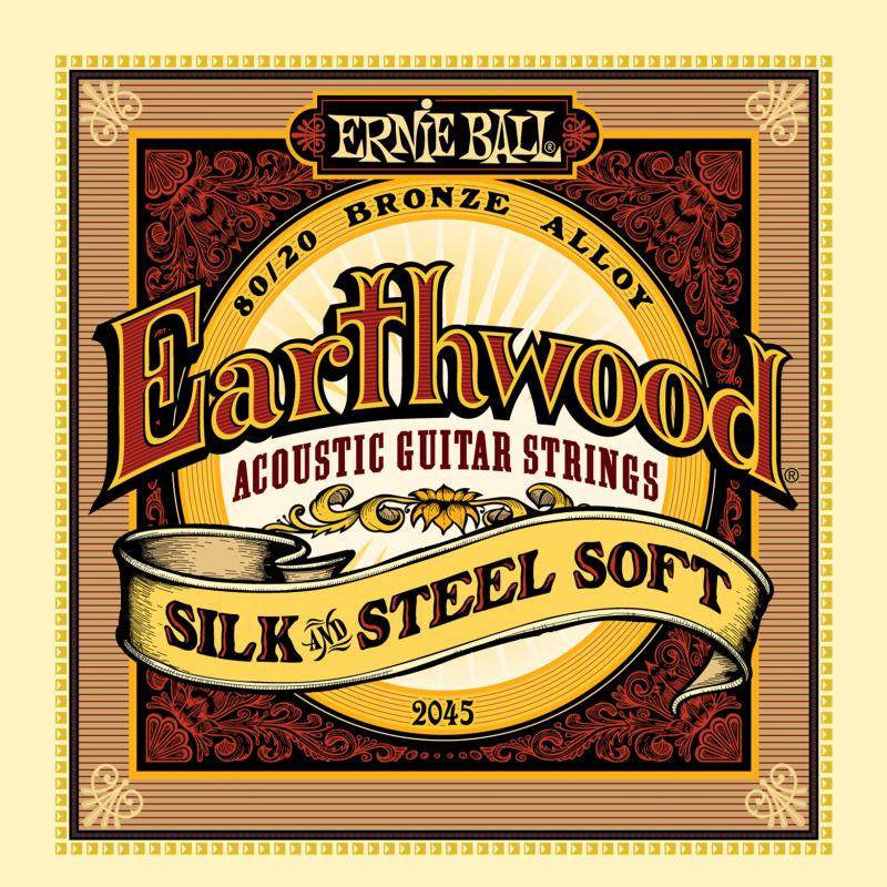 Ernie Ball 2045 струны для акустической гитары Silk & Steel Soft (11-15-22w-30-42-52)P02045Комплект струн для акустической гитары Silk & Steel Soft Калибр струн: 11-15-22w-30-42-52Струны серии Earthwood 80/20 Bronze представляют собой стальную лужёную шестигранную сердцевину с обмоткой из бронзового сплава (80% медь, 20% цинк). Отличительной особенностью комплекта Silk & Steel Soft является шёлковая микро-нить между обмоткой и сердцевиной, благодаря чему уменьшается шум, создаваемый пальцами при игре, а звучание становится более мягким.