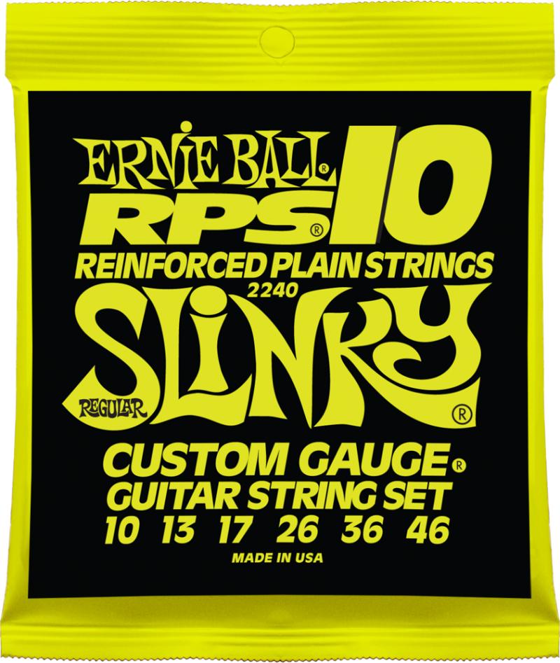 Ernie Ball 2240 струны для электрической гитары RPS10 Regular Slinky (10-13-17-26-36-46)P02240Комплект струн для электрогитары RPS10 Regular Slinky Калибр струн: 10-13-17-26-36-46Серия Ernie Ball Reinforced Plain (RPS) - усиленная версия струн стандарта Slinky. Три первые струны имеют специальную бронзовую обмотку, закрепляющую скрутку крепления шариков - это предотвращает их разматывание, что, к сожалению, встречается довольно часто. Последние три струны по своим свойствам аналогичны струнам из серии Nickel Wound. Струны RPS-10 Regular Slinky Nickel Wound сделаны из специально разработанных материалов, благодаря чему они достаточно прочные и стойкие на излом, что, в свою очередь, является гарантией их долговечности. И все это не в ущерб фирменному яркому и насыщенному звучанию струн Ernie Ball, которые помогают музыкантам по всему миру создавать своё уникальное творческое пространство.