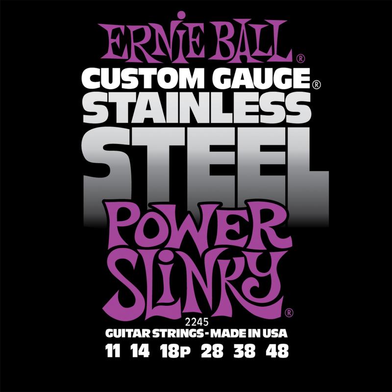 Ernie Ball Power Slinky Stainless Steel Wound струны для электрической гитары (11-48)P02245Струны серии Stainless Steel прочны, надёжны и долговечны. Stainless Steel Power Slinky сделаны из лужёной высокоуглеродистой стали, с обмоткой из нержавеющей стали, что обеспечит хорошо сбалансированное и яркое звучание вашего инструмента.Калибр струн: 11-14-18p-28-38-48Навивка: нержавеющая сталь Сердцевина: высокоуглеродистая сталь