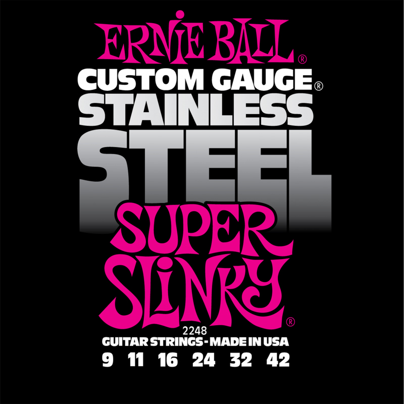 Ernie Ball Super Slinky Stainless Steel Wound струны для электрической гитары (9-42) stainless steel food bread clip 9 inch kitchen multifunctional barbecue clips