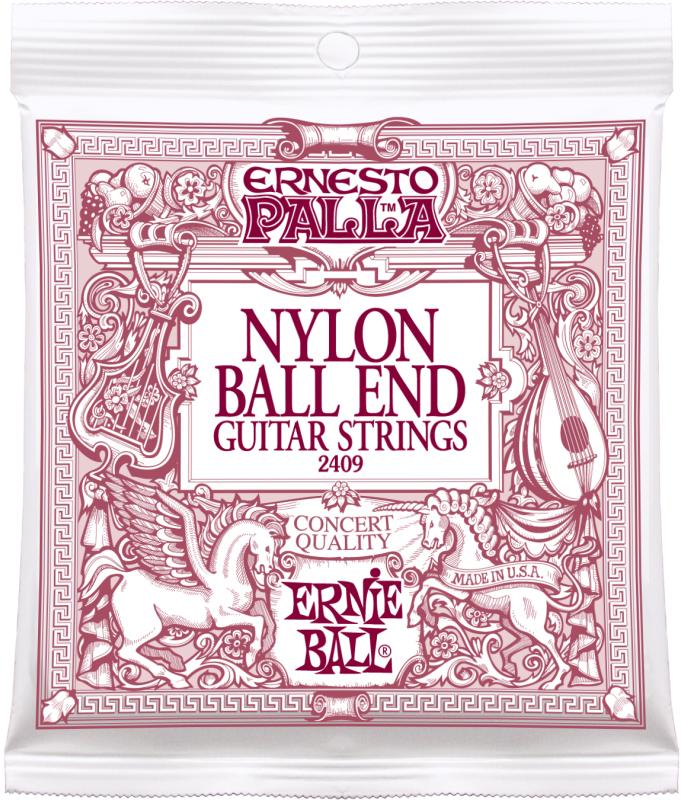Ernie Ball 2409 струны для классической гитары Ernesto PallaP02409Черный нейлон.Бронзовая оплетка.Струны для классической гитары серии Ernesto Palla изготовлены из прочной нити нейлона. Четвертая, пятая и шестая струны представляют собой нити нейлона с обмоткой из бронзового сплава (80% медь, 20% цинк), что обеспечивает мягкое, и в то же время насыщенное звучание. Все без исключения струны Ernie Ball изготовлены с соблюдением самых высоких стандартов качества, что является гарантией их прочности, надёжности и долговечности.
