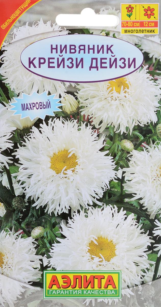 Семена Аэлита Нивяник. Крейзи Дейзи4601729016059Восхитительно красивое растение на высоких стеблях с темно-зелеными, блестящими листьями и шикарными,одиночными, махровыми соцветиями, расположенными на концах стеблей. Язычковые цветки белые, трубчатые -желтые. Хорошо смотрится в посадках на фоне декоративных кустарников, в рабатках и миксбордерах. Цветыдолго стоят в срезке.Уважаемые клиенты! Обращаем ваше внимание на то, что упаковка может иметь несколько видов дизайна.Поставка осуществляется в зависимости от наличия на складе.