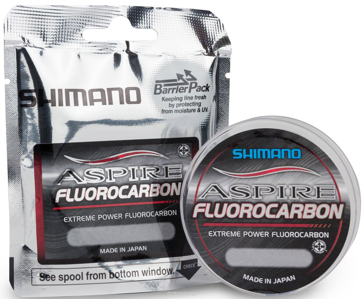 Леска Shimano Aspire Fluo, 0,12 мм, 50 м, 1,25 кгASPFLUO5012Shimano Aspire Fluo - высококачественная флуоресцентная карбоновая леска. Практически невидимая, чрезвычайно мягкая, тонет в 4 раза быстрее монолески. Леска Shimano Aspire Fluo гарантирует отличный клев и превосходную износостойкость. Отлично подойдет для соревнований, а также ловли карпа и хищной рыбы.