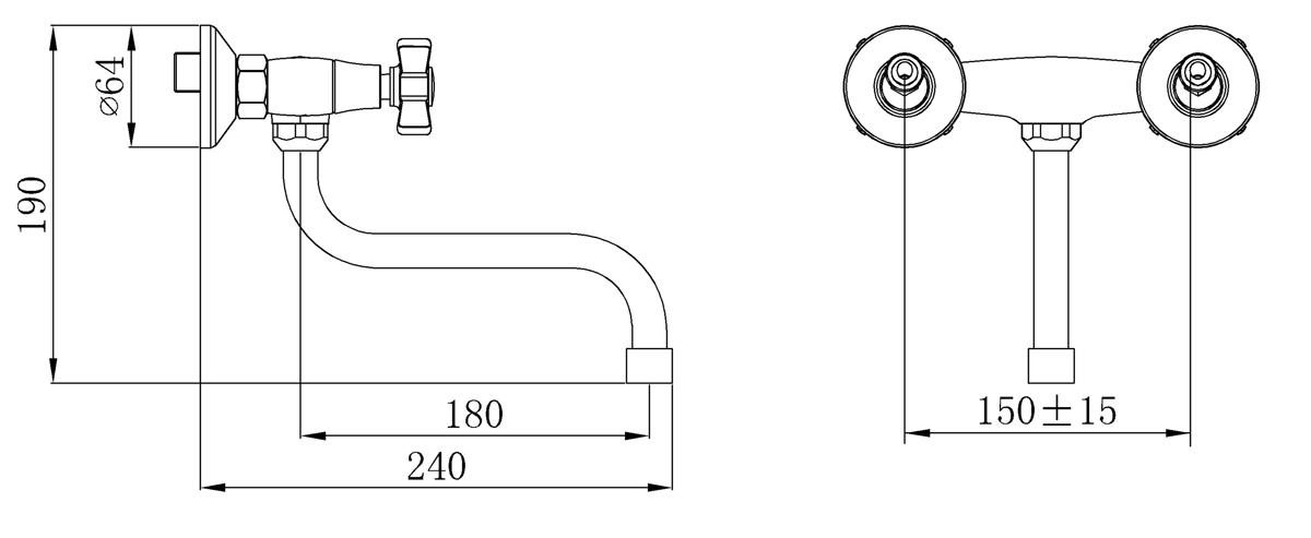 Смеситель для кухни с длинным изливом Кран-букса латунная с керамическими пластинами угол поворота 180 градусов В комплекте: эксцентрики, отражатели