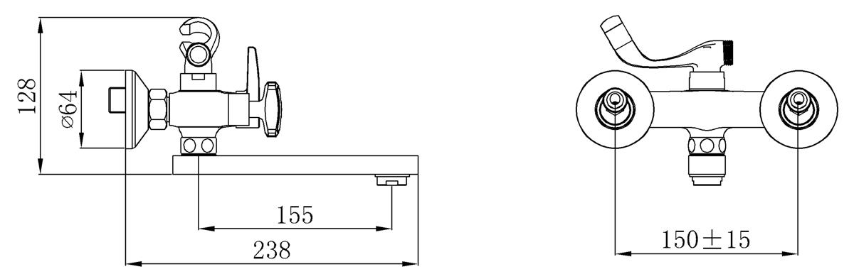 Смеситель для ванны с коротким изливом, Кран-букса латунная с керамическими пластинами, угол поворота 180 градусов  В комплекте: эксцентрики, отражатели, металлический шланг для душа 1,5м, лейка для душа