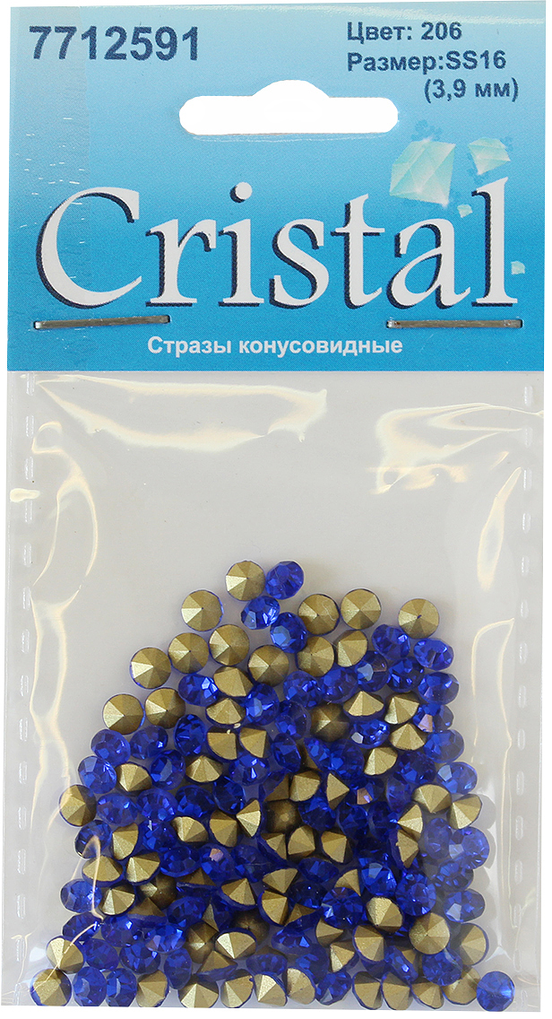 Стразы конусовидные риволи Cristyle, цвет: синий, 3,8 мм, 144 шт7712591_206Набор конусовидных страз риволи, позволит вам украсить одежду и аксессуары. Стразы оригинального и яркого дизайна. Украшение стразами поможет сделать любую вещь оригинальной и неповторимой.