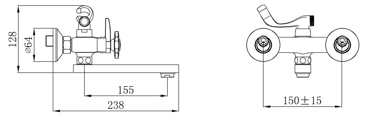 """Двухрычажный смеситель для ванны """"РМС"""" с коротким изливом отлично дополнит существующую сантехнику. Внутренняя конструкция гарантирует бесшумную работу и имеет долгий срок службы. Данная модель устойчива к коррозии, различным механическим повреждениям, перепадам температуры. Смеситель выполнен из латуни с керамическими пластинами, угол поворота 180 градусов. Аксессуар впишется в любой интерьер благодаря стильному внешнему виду."""