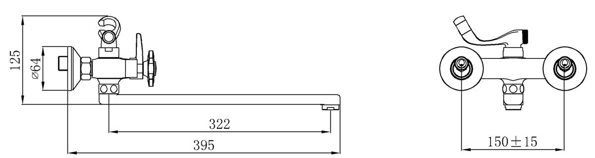 Смеситель для ванны с длинным изливом Кран-букса латунная с керамическими пластинами угол поворота 180 градусов В комплекте: эксцентрики, отражатели, металлический шланг для душа 1,5м, лейка для душа
