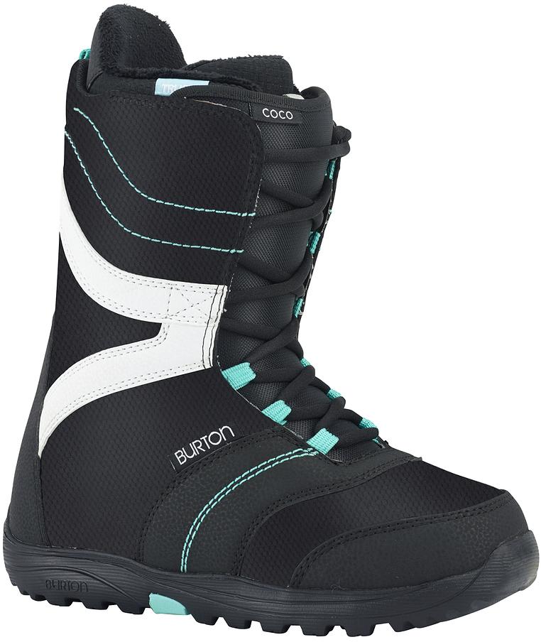 Ботинки для сноуборда Burton Coco. Размер 8,5 (40,5)Special LadyБотинки для сноуборда Burton Coco созданы для начинающих и прогрессирующих райдеров и оснащены самыми необходимыми функциями для обеспечения комфортного катания на протяжении всего дня. Конструкция ботинок разработана специально с учетом анатомических особенностей женской ноги и предполагает комфортную носку с самого первого дня. Благодаря технологии Snow-Proof Gusset в ботинок не попадет ни снег, ни влага, а прочная подошва Dynolite в сочетании со стелькой из вспененного материала EVA создадут дополнительную амортизацию, обеспечивающую комфорт и удобство. Небольшая жесткость ботинка предполагает минимум нагрузки на суставы и добавит свободу движений, так необходимую начинающим и прогрессирующим райдерам.Specific True Fit™ Design - конструкция ботинка разработана с учетом особенностей и потребностей женской ступни.Традиционная шнуровка.Мягкий гибкий язычок.Total Comfort Construction: конструкция этих ботинок предполагает удобство ношения с первого дня без дополнительной подгонки ботинка.Технология Snow-Proof Internal Gusset защищает от попадания внутрь ботинка снега и влаги.Внутренник Imprint 1 с интегрированной шнуровкой.Жесткость 2.Как выбрать сноуборд. Статья OZON Гид