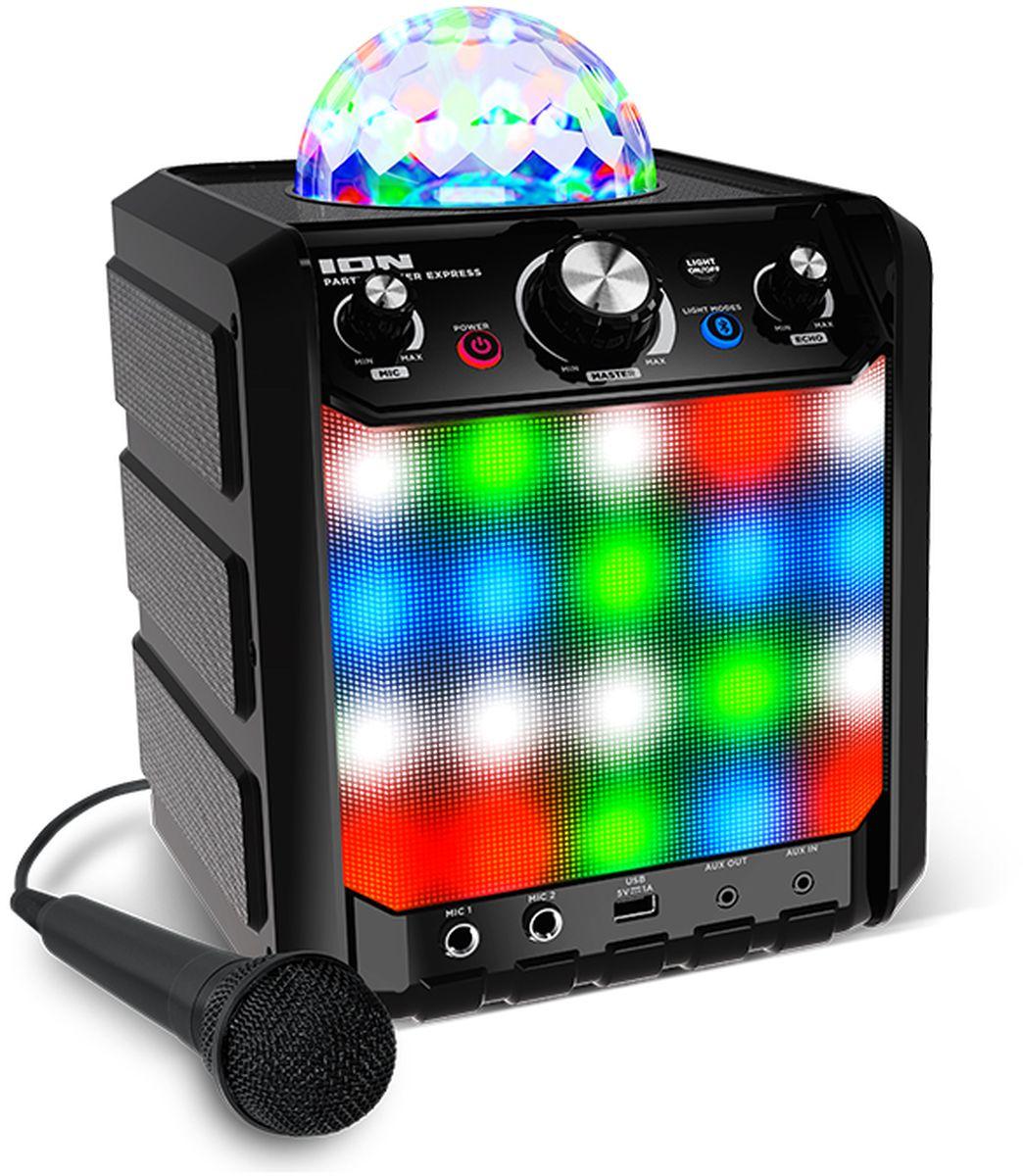 ION Party Rocker Express, Black портативная акустическая системаIONprexЦелый праздник заключен в компактный корпус Party Rocker Express. Мощный 4х-дюймовый динамик разгоняется до 40Вт. Светодинамический купол и светодиодный гриль раскрасят вашу вечеринку яркими цветами. Вы можете слушать музыку со своего смартфона, используя Bluetooth, или подключиться к линейному входу Aux. Цветомузыка купола использует Красный, Зеленый и Синий цвета, а светодиодный гриль использует всю цветовую гамму и танцует вместе с вами. Все это создает незабываемые эффекты. В комплект входит высококачественный динамический микрофон. Party Rocker Express имеет настраиваемый ЭХО-эффект и два микрофонных входа, - все что нужно для караоке. Может работать от батареек.Как выбрать портативную колонку. Статья OZON Гид