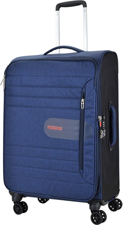 Чемодан American Tourister Sonicsurfer, цвет: темно-синий, 74,5 л. 46G-4100346G-41003Чемодан с расширением American Tourister Sonicsurfer прекрасно подойдет для путешествий. Изготовлен из прочного материала с текстильной подкладкой.Чемодан очень вместителен. Благодаря дополнительной молнии увеличивается объем чемодана. Изделие содержит продуманную внутреннюю и внешнюю организацию, которая позволит аккуратно и рационально разместить ваши вещи.Имеется одно большое отделение, закрывающееся по периметру на застежку-молнию с двумя бегунками. Большое отделение оснащено перекрещивающимися багажными ремнями, которые соединяются при помощи пластикового карабина.Верхняя крышка чемодана с внутренней стороны оснащена карманом на молнии и накладным сетчатым карманом на застежке-молнии. Такая организация позволяет удобно разложить вещи и избежать их сминания.Передняя стенка чемодана дополнена двумя втачными карманами на застежке-молнии.Для удобной перевозки чемодан оснащен четырьмя маневренными колесами, которые обеспечивают легкость перемещения в любом направлении. Телескопическая ручка выдвигается нажатием на кнопку и фиксируется нескольких положениях. Сверху и сбоку предусмотрены удобные ручки для поднятия чемодана.Чемодан оснащен кодовым замком TSA, который исключает возможность взлома. Отверстие в кодовом замке предназначено для работников таможни (открытие багажа для досмотра без присутствия хозяина). Ключ находится только у таможни. Чемодан оснащен кодовым замком, который исключает возможность взлома.Чемодан American Tourister Sonicsurfer идеально подходит для поездок и путешествий. Он вместит все необходимые вещи и станет незаменимым аксессуаром во время поездок.Как выбрать чемодан. Статья OZON Гид