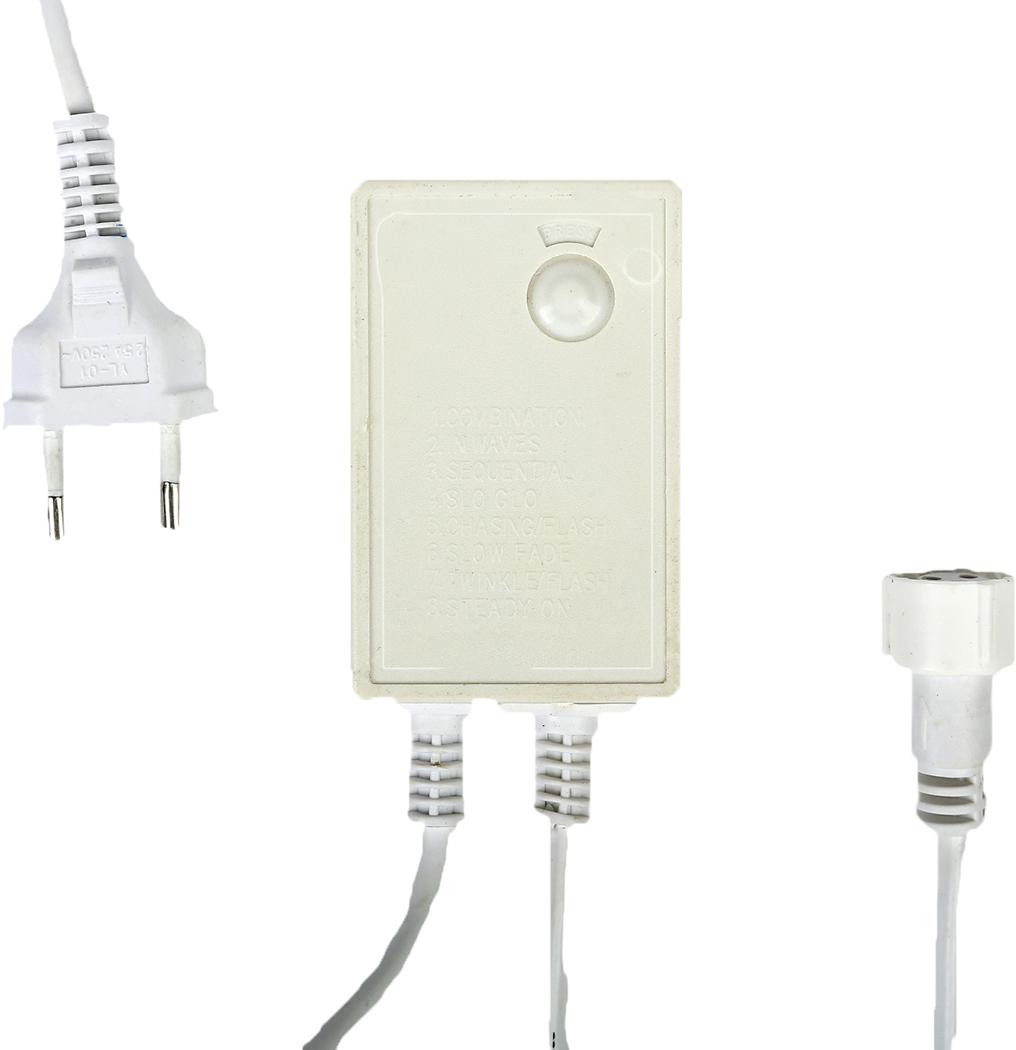 Контроллер уличный для гирлянд УМС Luazon Lighting, до 1000 LED, нить белая, 3W, 8 режимов1080042Разветвитель нужен для создания огромного сияющего шлейфа и обеспечения различных световых эффектов определённых видов гирлянд. Это удобное приспособление необходимо тем, кому хочется нарядно оформить праздничный зал, фасад здания или иное пространство или крупный объект. Устройство одновременно является блоком питания и управления (при помощи кнопки происходит переключение программ свечения).