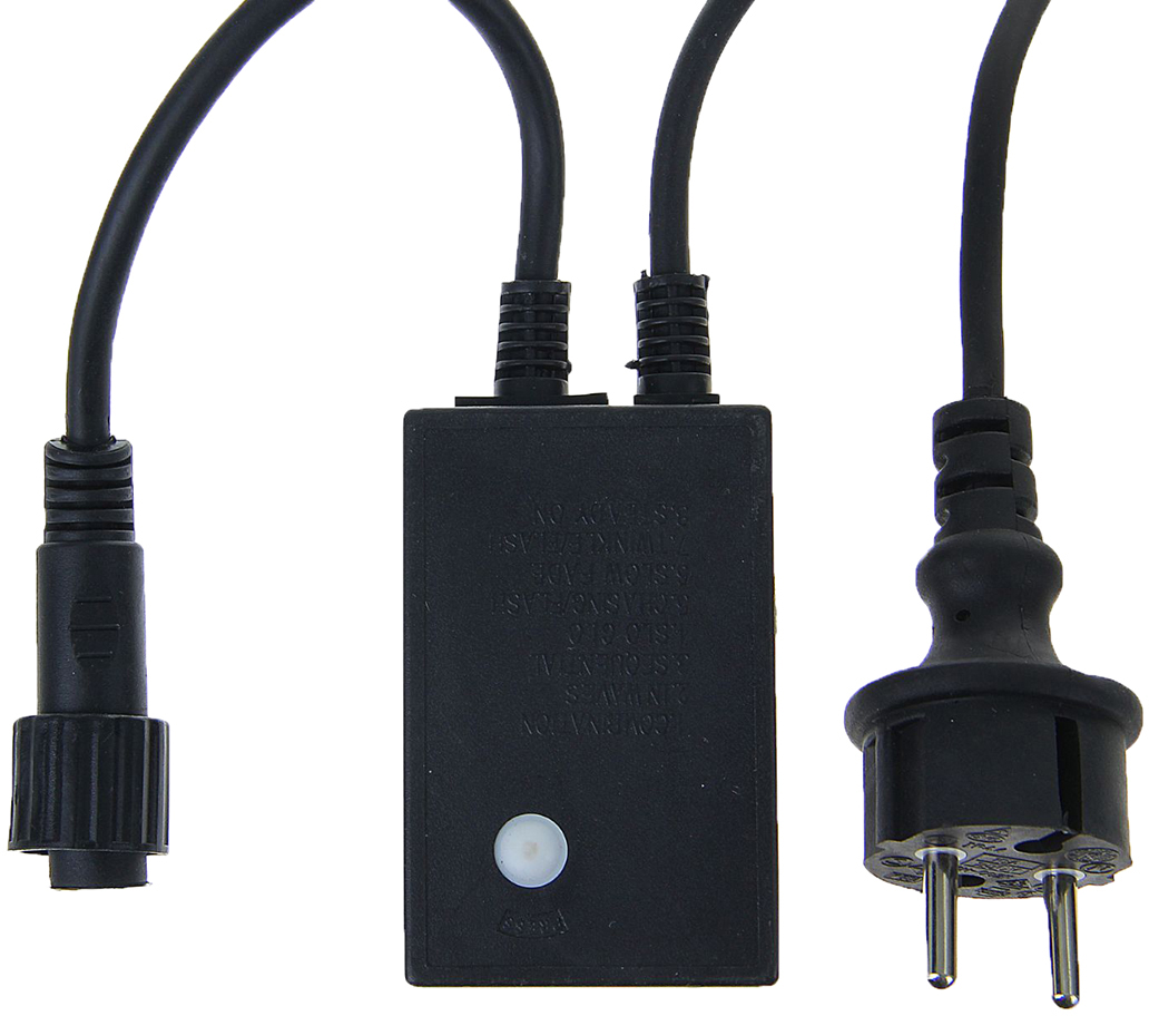 Контроллер уличный для гирлянд УМС Luazon Lighting, до 3000 LED, нить темная, каучук, 3W, 8 режимов1080636Контроллер – это необходимое приобретение, если ваш выбор пал на гирлянды с возможностью объединения. Это маленькое устройство является одновременно блоком питания и пультом управления. К такому контроллеру вы можете подключить цепь до 3000 LED cо светодинамикой, а затем выбрать один из 8 режимов работы – свечение, сияние, затухание, волны или микс всех программ сразу.