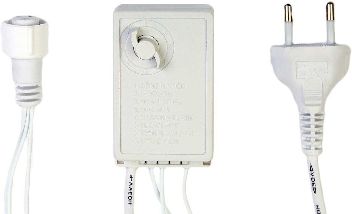 Контроллер уличный с памятью для гирлянд УМС Luazon Lighting, до 1000 LED, нить белая, 3W, 8 режимов2361736Данный контроллер предназначен для уличных гирлянд с УМС-разъёмом и позволяет менять постоянное свечение на плавные переходы, моргание и т. д. Устройство сохраняет режим после выключения благодаря поворотному механизму. Просто оставьте его в нужном положении до следующего использования гирлянды.