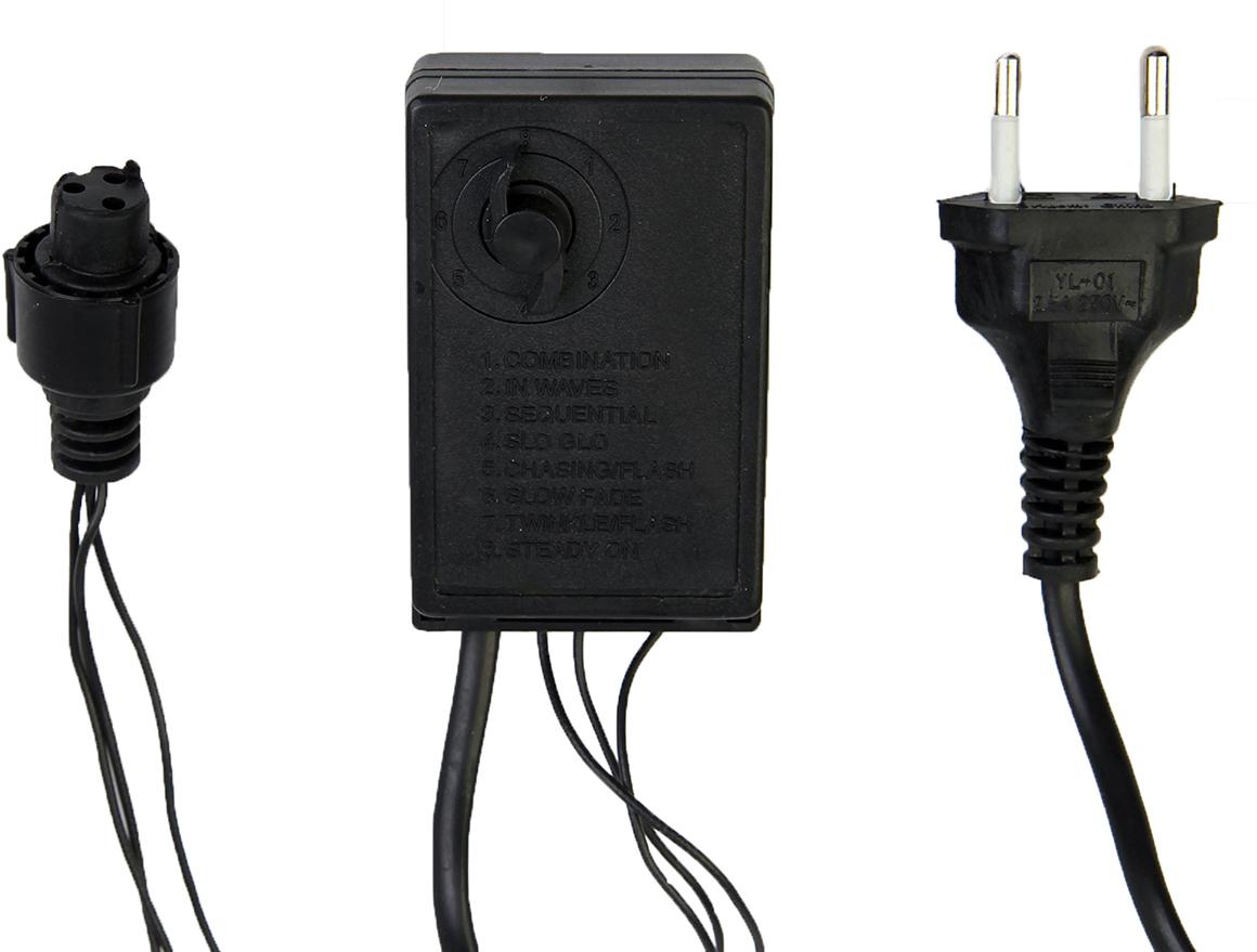 Контроллер уличный с памятью для гирлянд УМС Luazon Lighting, до 1000 LED, нить темная, 3W, 8 режимов2361737Данный контроллер предназначен для уличных гирлянд с УМС-разъёмом и позволяет менять постоянное свечение на плавные переходы, моргание и т. д. Устройство сохраняет режим после выключения благодаря поворотному механизму. Просто оставьте его в нужном положении до следующего использования гирлянды.