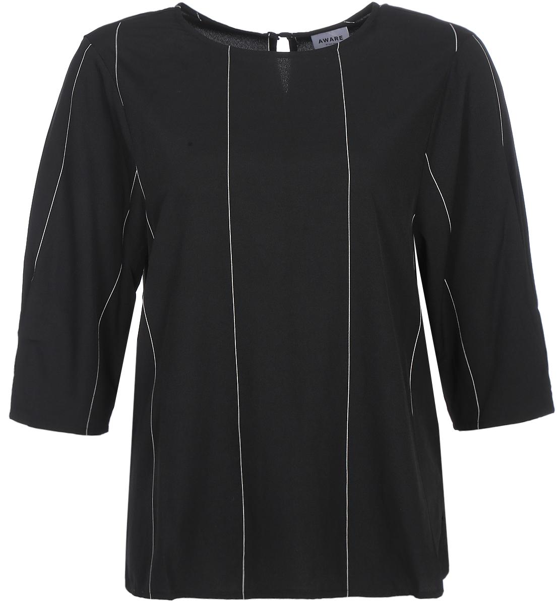 Блузка женская Vero Moda, цвет: черный. 10187952_Black. Размер 44/4610187952_BlackСтильная блузка свободного силуэта, выполненная из 100% полиэстера, отлично дополнит ваш гардероб. Модель с рукавами до локтя и круглым вырезом горловины на спинке имеет застежку на пуговицу.