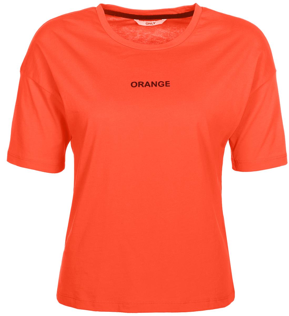 Футболка женская Only, цвет: оранжевый. 15150344_Orangeade. Размер 42/4415150344_Orangeade