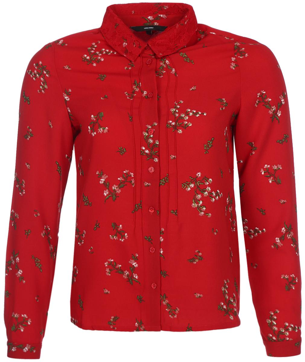 Блузка женская Vero Moda, цвет: красный. 10189784_Lychee. Размер 42/4410189784_LycheeСтильная блузка, выполненная из 100% полиэстера, отлично дополнит ваш образ. Модель с отложным воротником и длинными рукавами спереди застегивается на пуговицы.