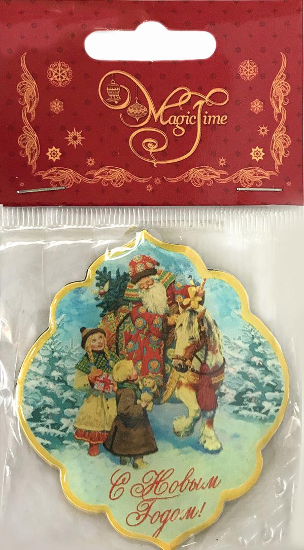 Магнит декоративный Дед Мороз и дети, 5 x 6 см сувенир миленд магнит бодрого утра винил пакетик с европодвесом т 3252