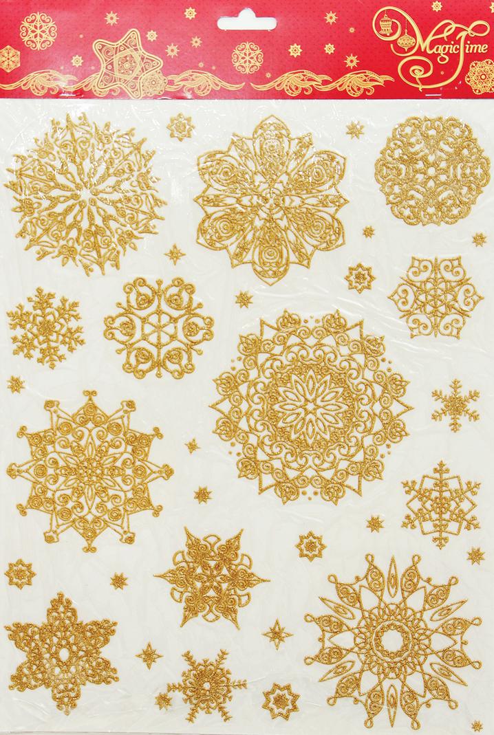 Украшение для окон и стекла декоративное Снежинки золотые объемные, 30 х 38 см38636Украшение для окон и стекла декоративное Снежинки золотые объемные-3, 30х38 см, ПВХ, 38636Наклейка из ПВХ пленки, декорированная глиттером. Легко крепится к гладкой поверхности стекла посредством статического эффекта, не оставляет следов после снятия. Поможет украсить окна в офисе и дома, подчеркнет яркость и торжественность праздника.Размер - 38х30 см. Материал - ПВХ пленка с глиттером. Для многоразового использования.